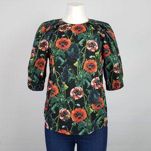 H&M Poppy Flower Print Top Size 10